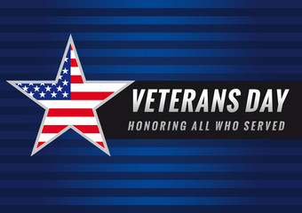 Veterans day USA star banner. Lettering Veterans Day and Honoring all who served banner, USA flag on background in star