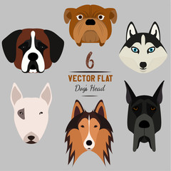 Set of 6 dog's head. Flat design. Pets. Cute doggies. Dog icon. Logo. Cartoon character. Animals. Vector illustration, eps10.