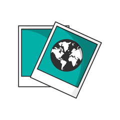 Planet inside picture icon. Earth world globe and continent theme. Isolated design. Vector illustration