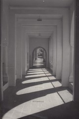 Hallway Black and White Shadows