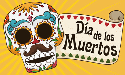 "Colorful Male Skull for Mexican ""Dia de los Muertos"" Celebration, Vector Illustration"