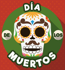 "Round Button with Traditional Mexican Skull of ""Dia de Muertos"", Vector Illustration"