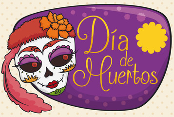 """Beauty Catrina with Flowers for Mexican """"Dia de Muertos"""" Celebration, Vector Illustration"""