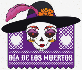 Elegant Catrina Skull with Hat for Mexican Dia de Muertos, Vector Illustration