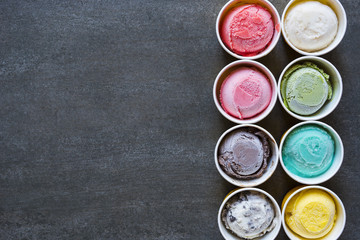 Top view Ice cream flavors in cup on blackground