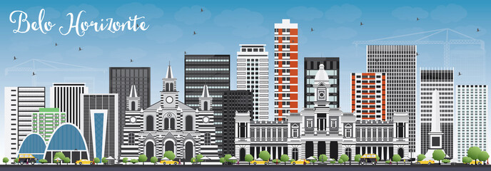 Belo Horizonte Skyline with Gray Buildings and Blue Sky.