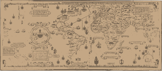 Early world map / Diogo Ribeiro [vector]