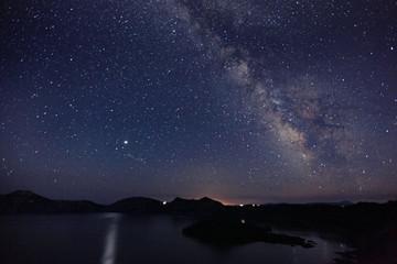 milky way stars n lake