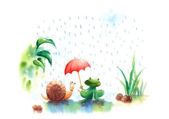 beautiful watercolor illustration of Rainy season frog and snail