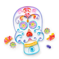 "Sugar skull made with paper strips for ""dia de los muertos"" cele"