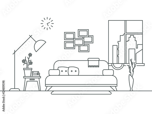 Living room with furniture interior in thin line style for Living room outline
