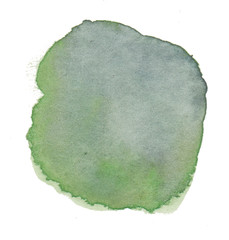 Abstract Green Hand Drawn Watercolor Circle