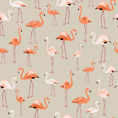 Tuinposter Flamingo Exotic flamingo birds pattern on beige background