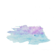 Abstract Blue Purple Hand Drawn Watercolor Brush Stroke