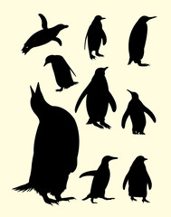 Penguins silhouette. Good use for symbol, logo, web icon, mascot, sign, or any design you want.