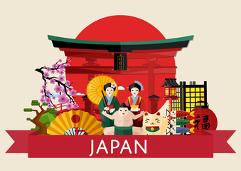 Japan famous traditional symbols on background of red sun circle with torii gate, isolated vector illustration. Travel concept with girl in traditional kimono, fan and sumo wrestler. Japanese culture