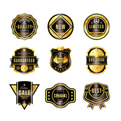 Gold metal badge collection vintage style isolated vector illustration. Quality guaranteed and exclusive badge.