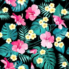 Plumeria flowers and jungle palms. Beautiful fabric pattern with a tropical flowers isolated over black background. Seamless texture. Vector illustration.