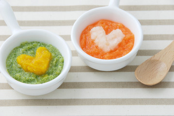 離乳食初期(5・6ヶ月)/ブロッコリーとかぼちゃのペースト ニンジンとポテトのペースト