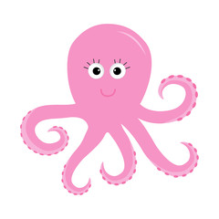 Octopus Zoo alphabet. Ocean See underwater life Animals collection Education cards for kids Isolated White background Flat design