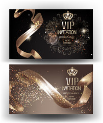 VIP Invitation banners with sparkling curly ribbons and crowns