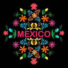 Mexico flowers, pattern and elements. Vector.