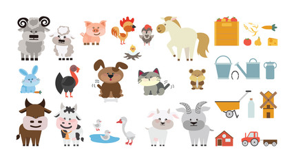 Farm animals set. Isolated home animals on white background as dog, cat, goat, ram, horse and others.