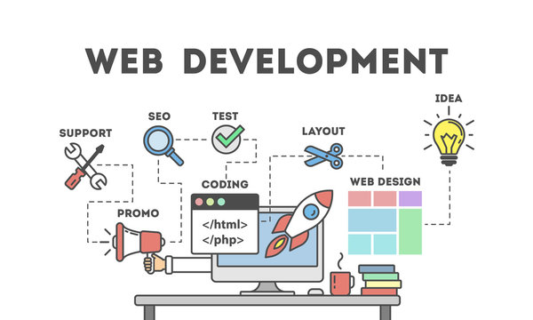 Web development concept. Table with computer and many icons. Idea of coding and programming.