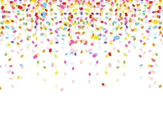 colorful confetti on white background
