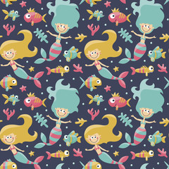 Marine cute seamless pattern with mermaids, fishes, algae, starfish, coral, seabed, bubble