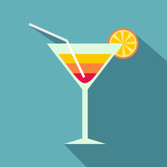 Beach cocktail icon. Flat illustration of beach cocktail vector icon for web