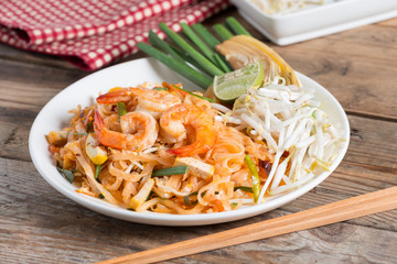 Pad Thai, stir-fried rice noodles with shrimp.