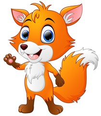 Cartoon fox waving hand