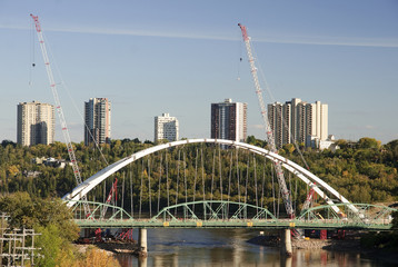 View of downtown Edmonton from bridge - Canada