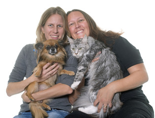 women and pet