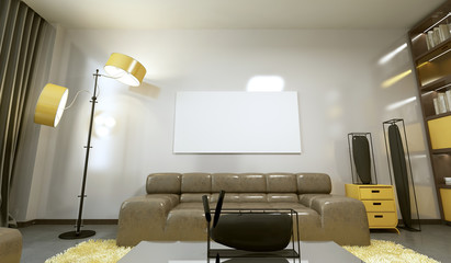 Mockup poster on the wall in a modern living room.
