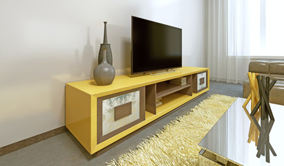 Bright yellow TV unit in modern living room.