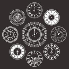 Vector vintage clock dials set
