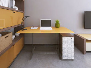 Desk and chair in modern living room.