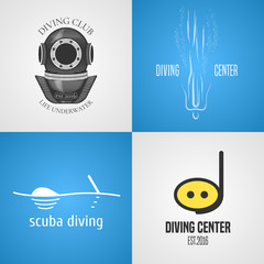 Set, collection of diving, snorkeling vector icons, sign, symbol