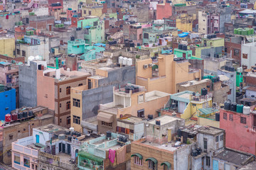 cityscape of old delhi in india