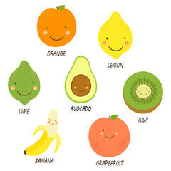Cute smiling characters of fruits for your decoration