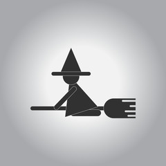 Black and white Vector illustration in flat design Halloween icon witch on broom