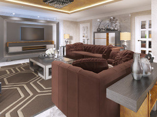 Luxurious living room in art Deco style with purple sofas.