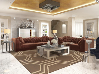 Living room in art Deco style with upholstered designer furnitur