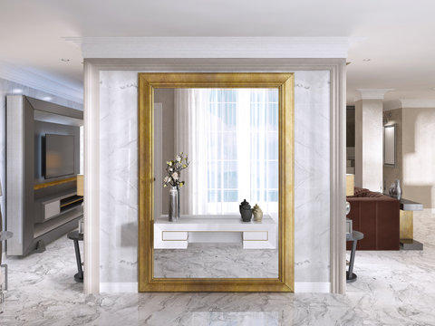 Luxurious Art-Deco entrance hall with a large designer mirror.