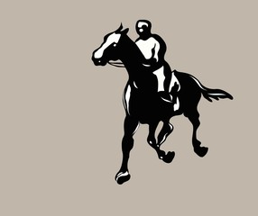 silhouette of a man on a horse rider