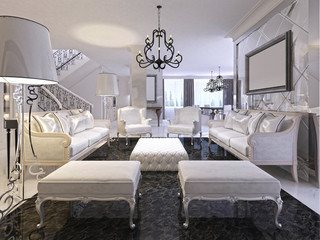 Luxury white living room with white furniture and black marble f