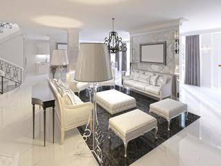 Art Deco living room design with white furniture black console.