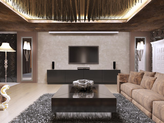 TV unit in luxury living room designed in modern style.